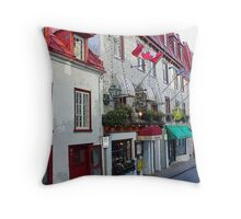 Old Quebec Shopfronts Throw Pillow
