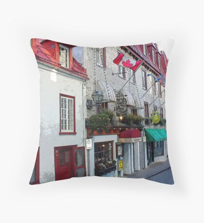 Old Quebec Shopfronts Throw Pillow