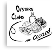 Oysters, clams, and cockles Canvas Print