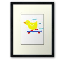 Ducky on skateboard   Framed Print