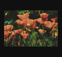 Brilliant Orange California Poppies - Impressions of Desert Spring One Piece - Long Sleeve