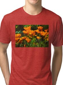 Brilliant Orange California Poppies - Impressions of Desert Spring Tri-blend T-Shirt
