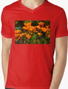 Brilliant Orange California Poppies - Impressions of Desert Spring Mens V-Neck T-Shirt