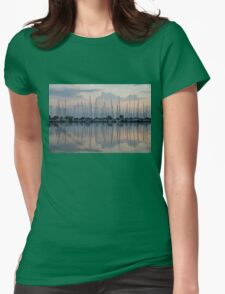 Pastel Sailboats Reflections at Dusk Womens Fitted T-Shirt