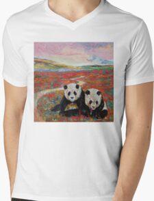 Panda Paradise Mens V-Neck T-Shirt
