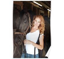 Beautiful Redhead with Her Horse (3) Poster