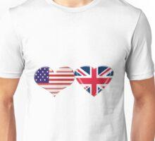 USA and UK Flag Hearts Unisex T-Shirt