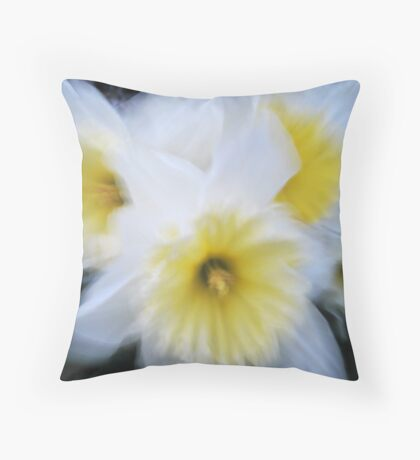 Impressionist white daffodils Throw Pillow