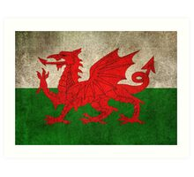 Old and Worn Distressed Vintage Flag of Wales Art Print