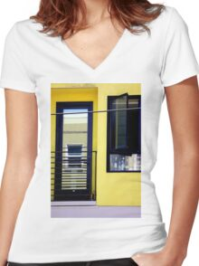 Second And Third Floor Windows With Door Women's Fitted V-Neck T-Shirt