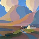 Dreamscape with cottage and two women by lake by Alan Kenny