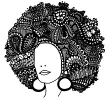 Pen & Ink  Drawing | Women's Afro  Photographic Print