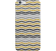 Vintage gray gold faux gliter chevron pattern  iPhone Case/Skin