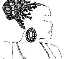Pen & Ink  Drawing | Women's Updo. by tonijconroy