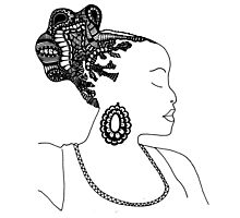 Pen & Ink  Drawing | Women's Updo. Photographic Print