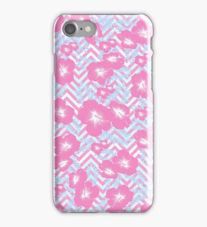Vintage pink white teal floral chevron pattern  iPhone Case/Skin