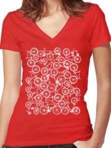 Pile of White Bicycles Women's Fitted V-Neck T-Shirt