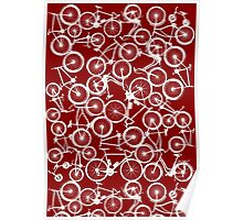 Pile of White Bicycles Poster