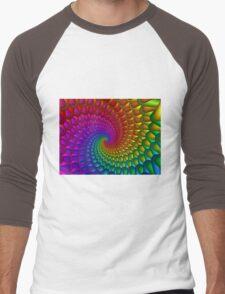 Rainbow Fractal Spiral  Men's Baseball ¾ T-Shirt