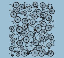 Pile of Black Bicycles One Piece - Short Sleeve