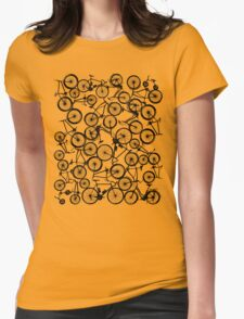 Pile of Black Bicycles Womens Fitted T-Shirt