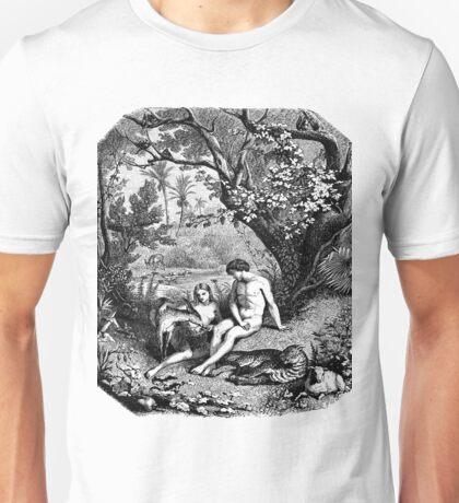 Adam and Eve in the garden of Eden Unisex T-Shirt
