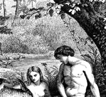 Adam and Eve in the garden of Eden Sticker