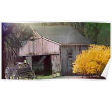 Old Farm Garage Poster