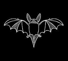 Leaf-Nosed Bat (White on Black) by tyrannulet