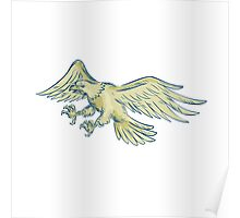 Bald Eagle Swooping Etching Poster