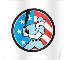 American Baseball Batter Hitter USA Flag Circle Retro Poster