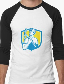 Coal Miner Holding Pick Axe Looking Up Shield Retro Men's Baseball ¾ T-Shirt