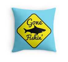 Gone Fishing yellow sign with a shark Throw Pillow