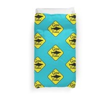 Gone Fishing yellow sign with a shark Duvet Cover