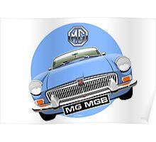 MGB chrome bumper light blue Poster