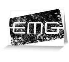 EMG Pickups distressed logo Black Greeting Card
