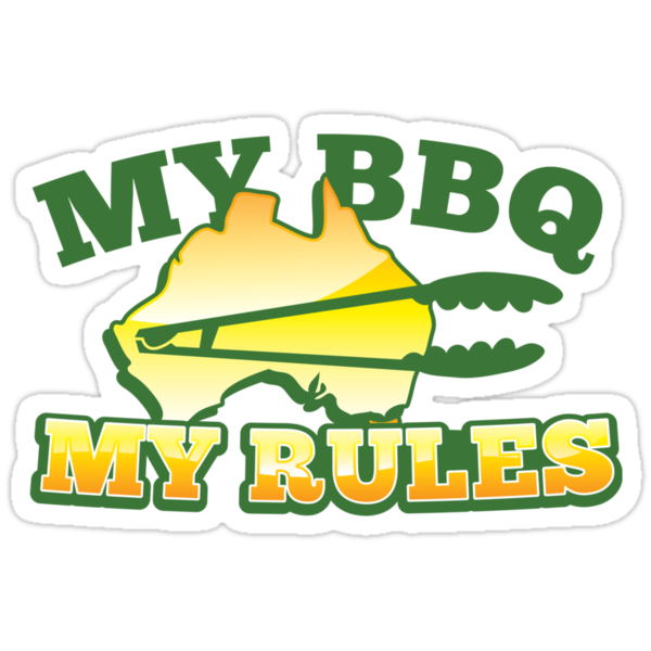 MY BBQ (barbecue) MY RULES Aussie Australian flag and tongs by jazzydevil