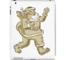Santa Claus Walking Waving Etching iPad Case/Skin