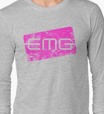 EMG Pickups distressed logo Pink Long Sleeve T-Shirt