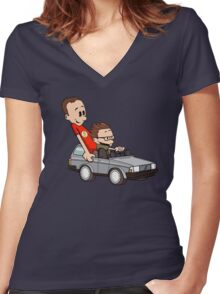 Leonard and Sheldon Women's Fitted V-Neck T-Shirt