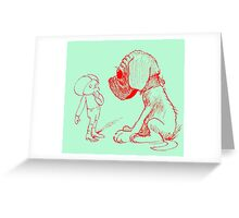 Who let the dog out, red Greeting Card