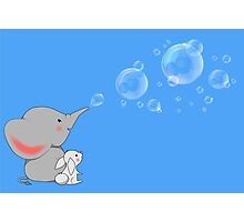 Elephant and bunny blowing bobbles Photographic Print
