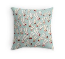 Flower Bunnies Throw Pillow