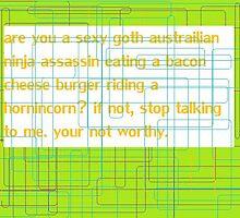 more sexy goth australian ninja assassins eating bacon cheese burgers by ChesireCatLove