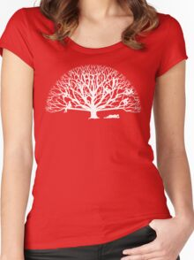 Tree Dwelling White Silhouette Women's Fitted Scoop T-Shirt