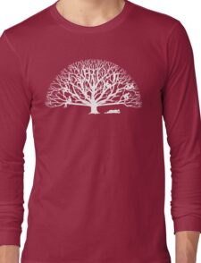 Tree Dwelling White Silhouette Long Sleeve T-Shirt