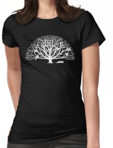 Tree Dwelling White Silhouette Womens Fitted T-Shirt