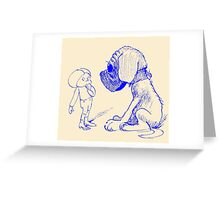 Who let the dog out, blue Greeting Card