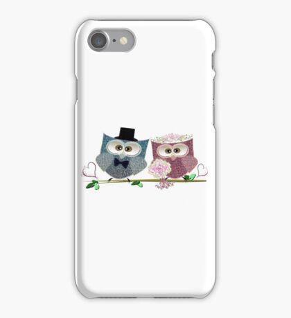 Cute Bride and Groom Wedding Owls Art iPhone Case/Skin