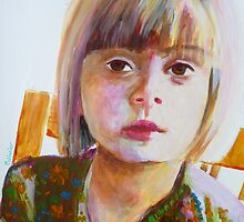 Portrait of a young girl, acrylic on yupo paper by Sandrine Pelissier